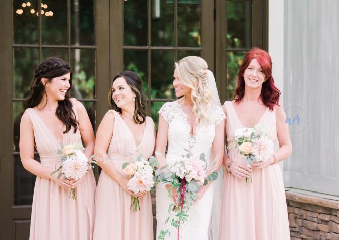 Blush Wedding, Blush Bridesmaid Dresses, Blush Bridal Bouquet