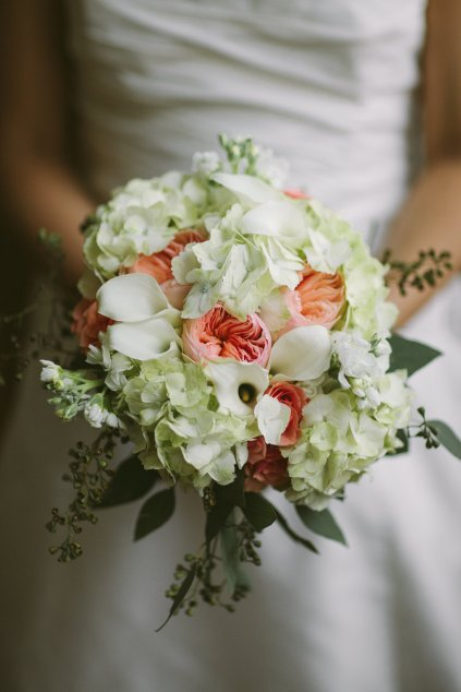 Green, White and Peach Bridal Bouquet