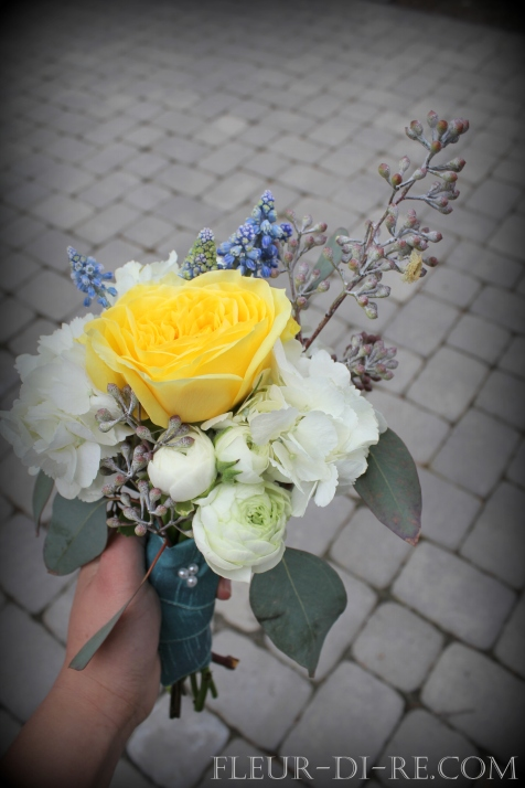 White, Yellow and Blue Bridesmaid Bouquet
