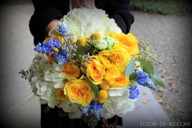 White, Yellow and Blue Bridal Bouquet