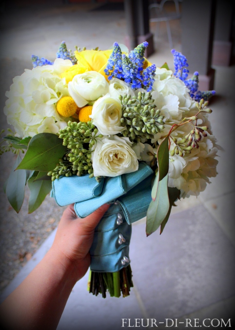 Yellow, White and Blue Bridal Bouquet