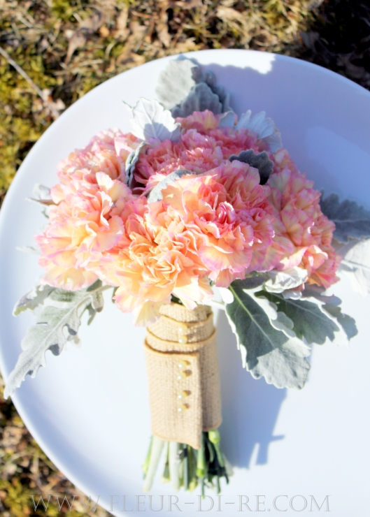 Carnation and Dusty Miller Bouquet
