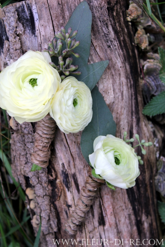 White Ranunculus Boutonniere with Seeded Eucalyptus