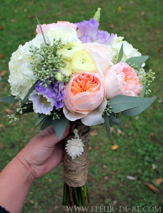 White, Peach and Lavender Bridal Bouquet