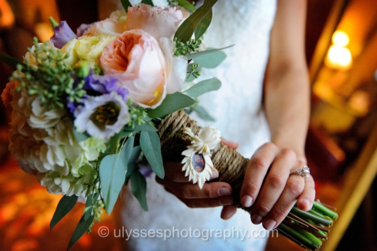 Peach and Lavender Bridal Bouquet