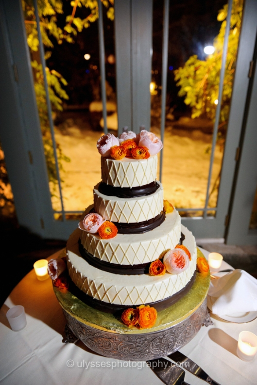Orange and Peach Wedding Cake