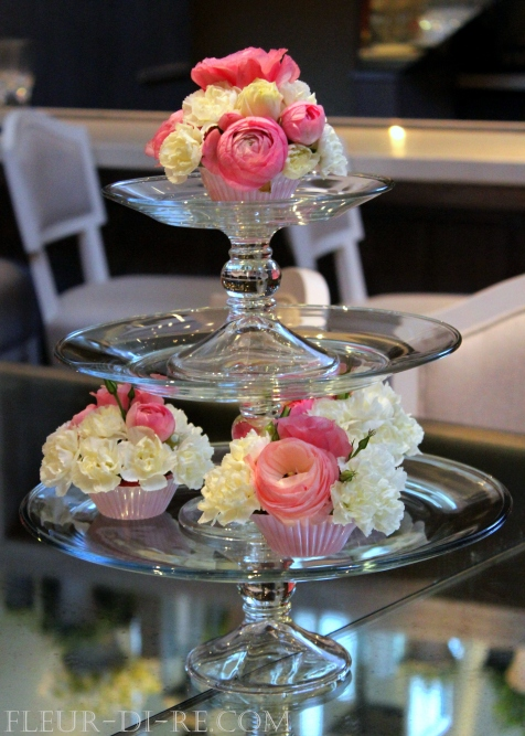 Floral Cupcakes and Cake Stand