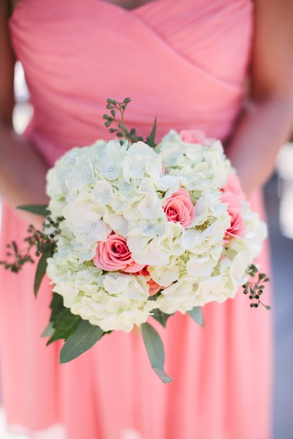 White and Peach Bridesmaid Bouquet