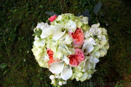 Green with Peach and White Bridal Bouquet