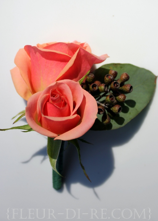Peach Spray Rose Boutonniere