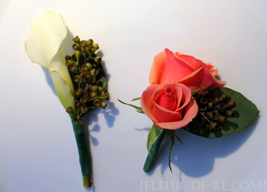Peach and Green Wedding Boutonnieres
