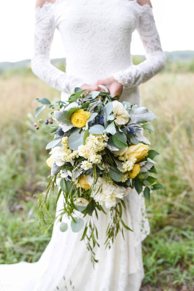Yellow Bridal Bouquet, Cascading Bridal Bouquet, Blueberry Bridal Bouquet