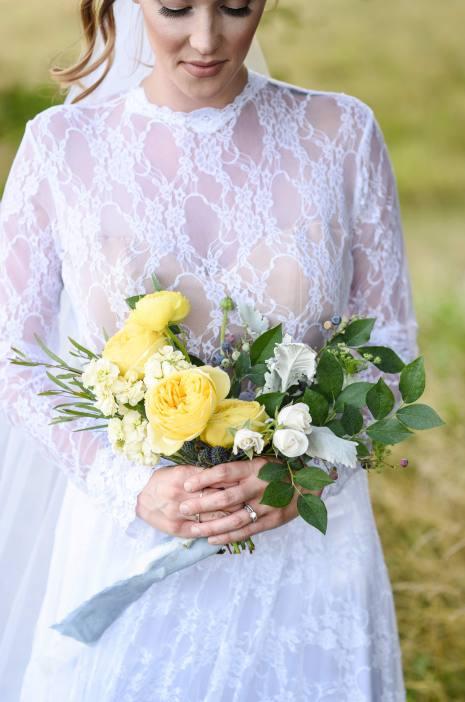 Yellow Bridal Bouquet, Mini Bridal Bouquet, Blueberry Bridal Bouquet