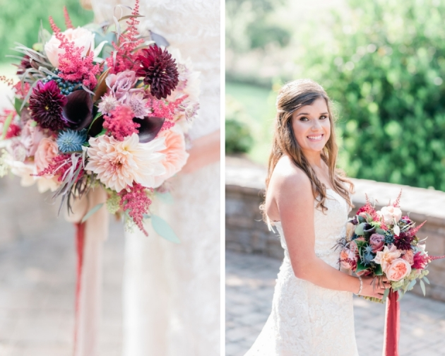 blush, burgundy, mauve and blue bridal bouquet